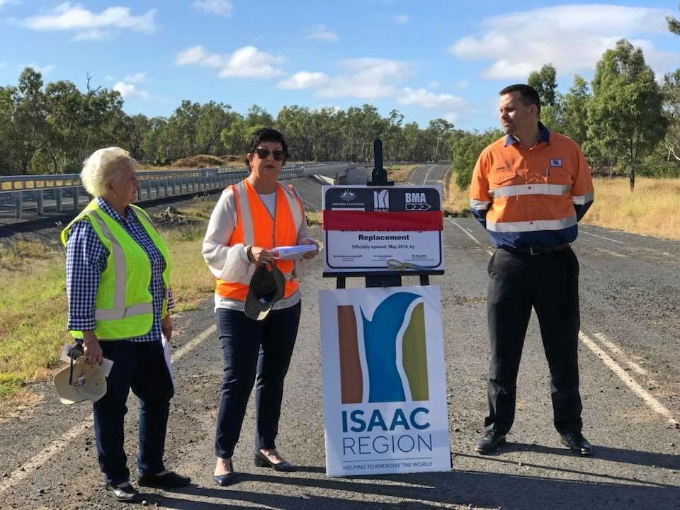 BMA asset president Rag Udd, Federal Member for Capricornia Michelle Landry and Isaac Mayor Cr Anne Baker for the official opening of  the new bridge over Cherwell Creek on the Peak Downs Mine Rd in May 2018.  A joint project between the Australian Government, Isaac Regional Council, and BHP Queensland and New South Wales, including $2.75M federal funding.