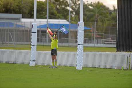 The traditional white flags of the goal umpire were replaced with the  Aboriginal and Torres Strait Island flags to commemorate Sir Doug Nicholls Round.