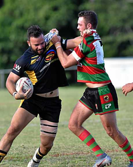 Nambour against Caboolture rugby league match.Caboolture fullback Alex Braun is stopped by Nambour halfback David Oakes