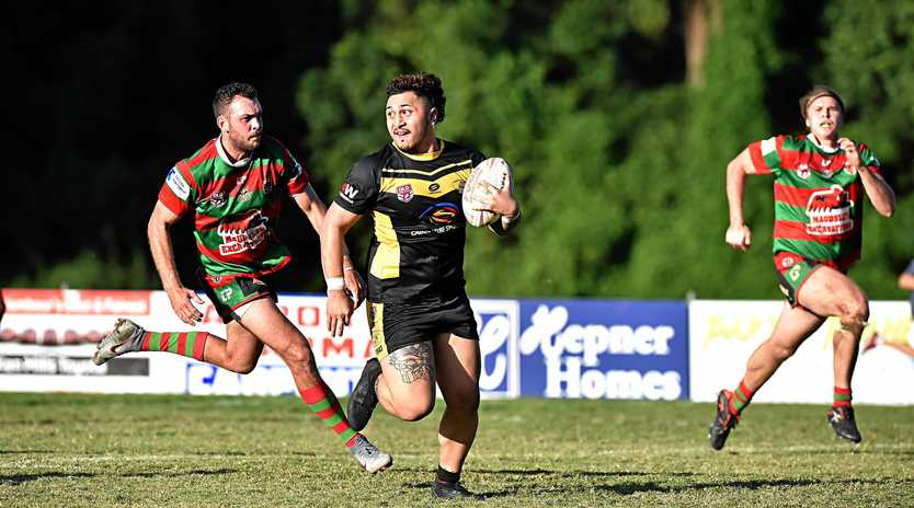 Nambour against Caboolture rugby league match.Caboolture's centre Rendon Pelite is stopped short of the tryline after a damaging run.