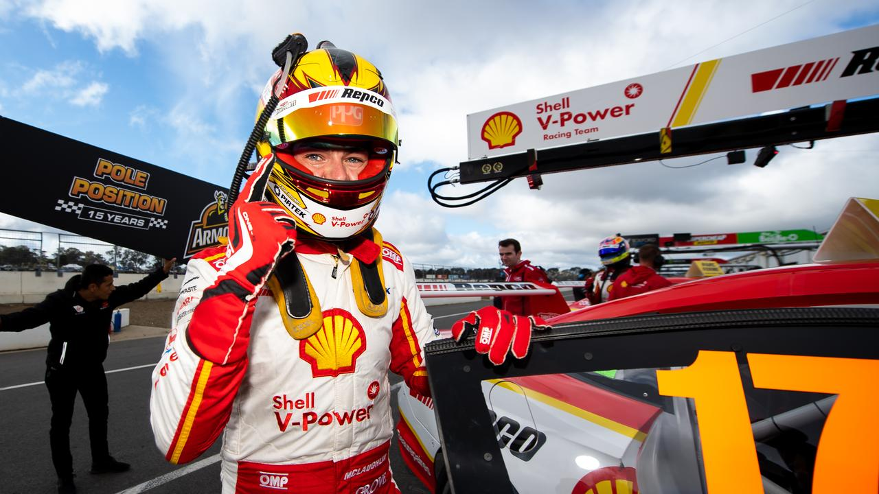 Scott McLaughlin driver of the #17 Shell V-Power Racing Team Ford Mustang claimed pole position for Sunday's race at Winton Motor Raceway. Picture: Daniel Kalisz/Getty Images