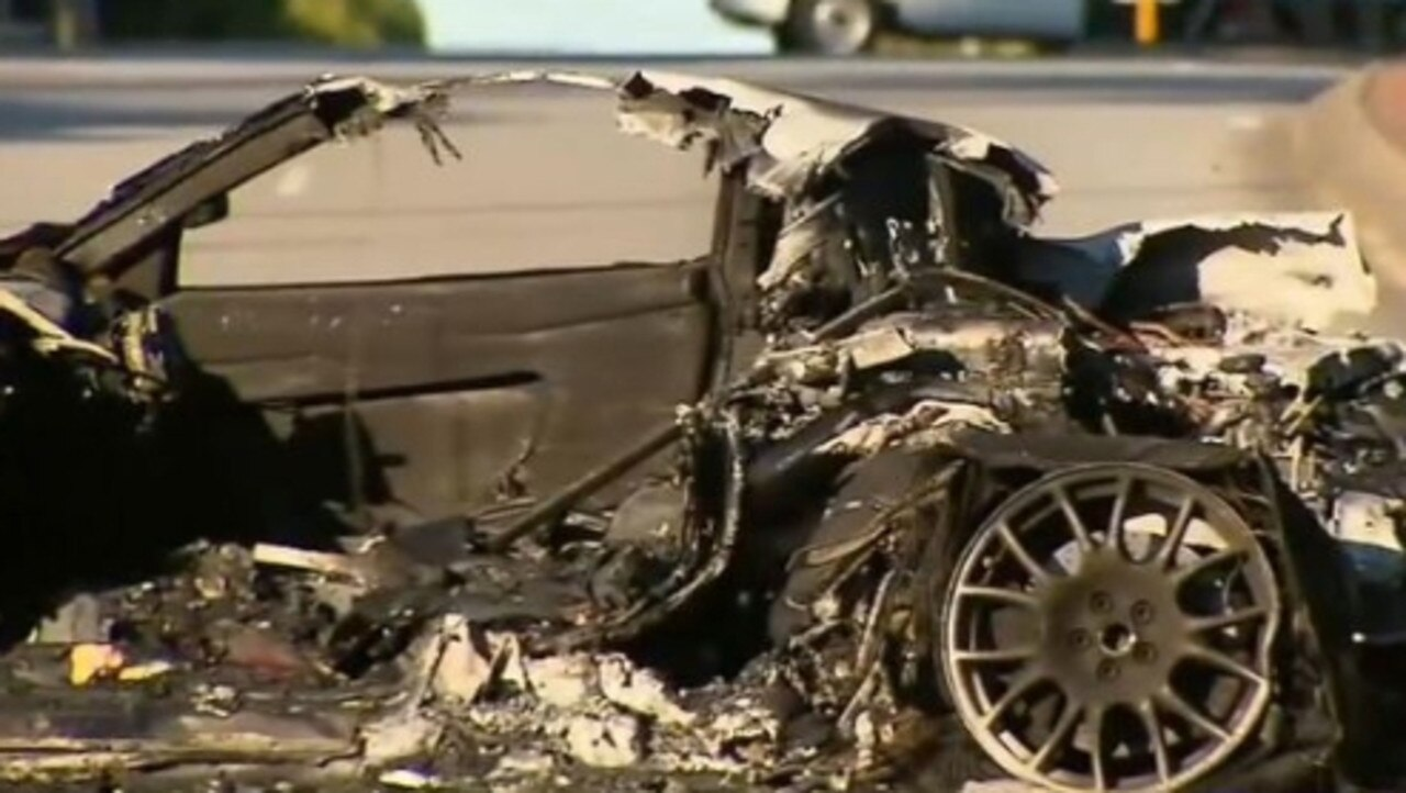 The charred remains of a Ferrari which crashed in Perth. Picture: 9news