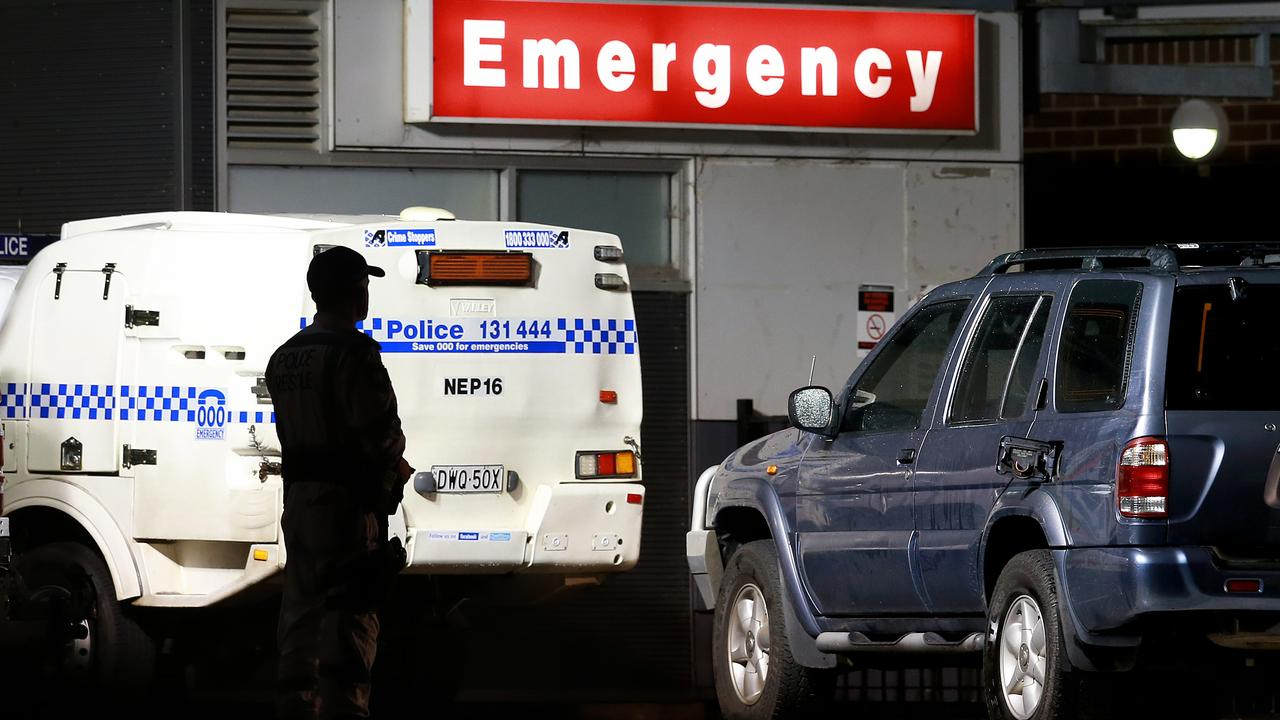 A police van outside Sydney's Nepean hospital. Picture: Toby Zerna