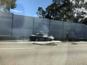 M1 traffic backs up as car bursts into flames