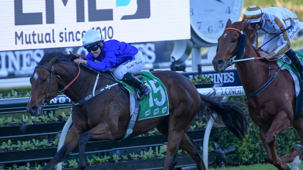 Jockey Rachel King rides Deprive to victory. Picture: AAP