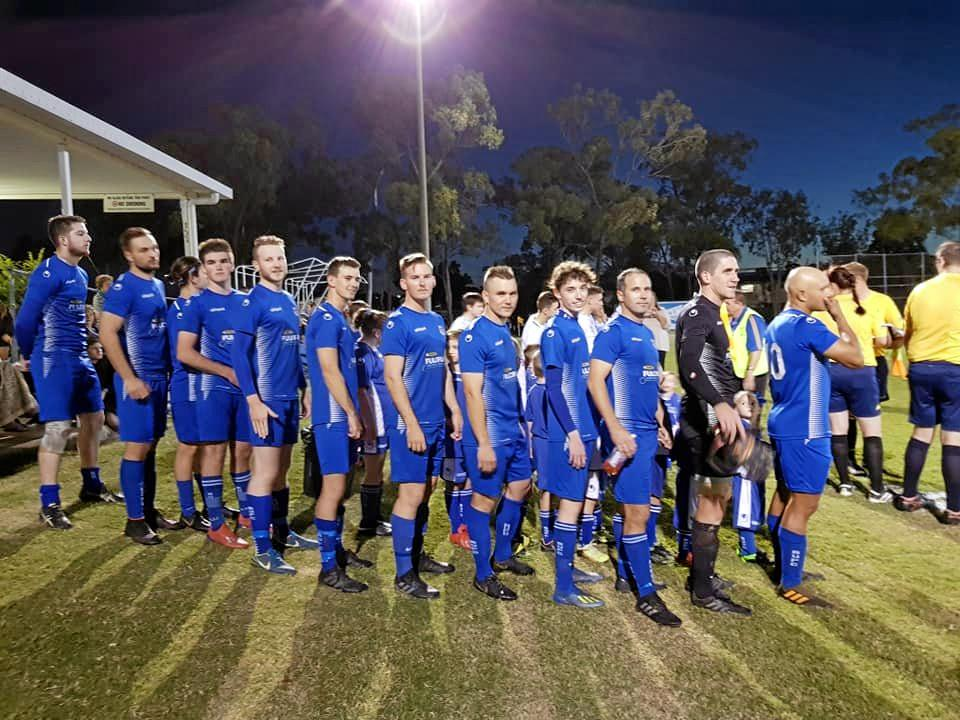 The Bluebirds United players get set to take the field at Webber Park for their FFA Cup showdown with Magpies Crusaders.