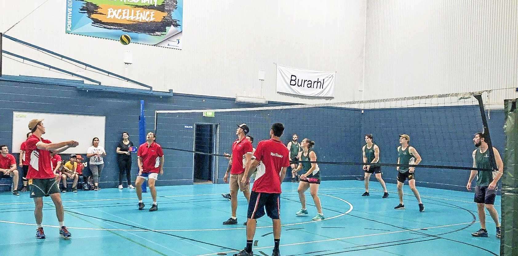 Rio Tinto versus Queensland Alumina Limited in the Gladstone Industry Leadership Group volleyball competition 2019 to support and raise awareness of domestic and family violence.