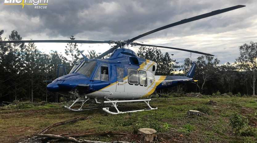 RESCUE MISSION: A dirt bike rider was rescued after falling off his handlebars while going down a steep track yesterday afternoon in the Gympie region.