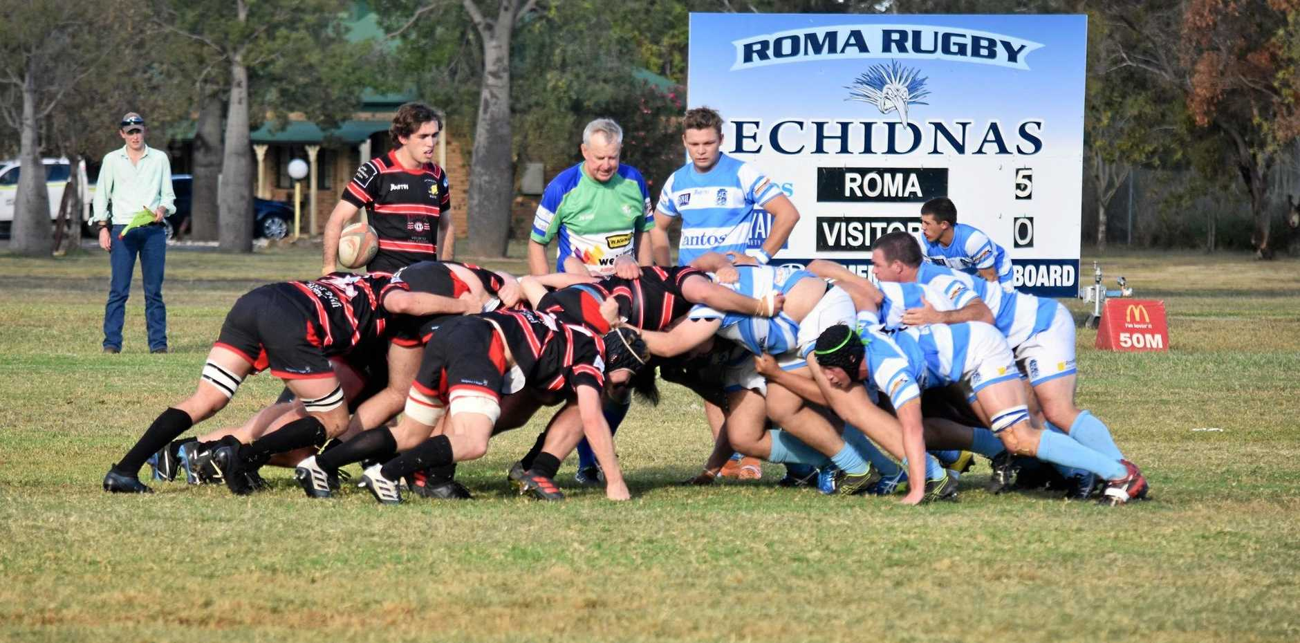 IN ACTION: The University of Queensland Gatton Black Pigs went down in a tough match to a strong-sided Roma Echindas at Gallas Fox Park, Roma.