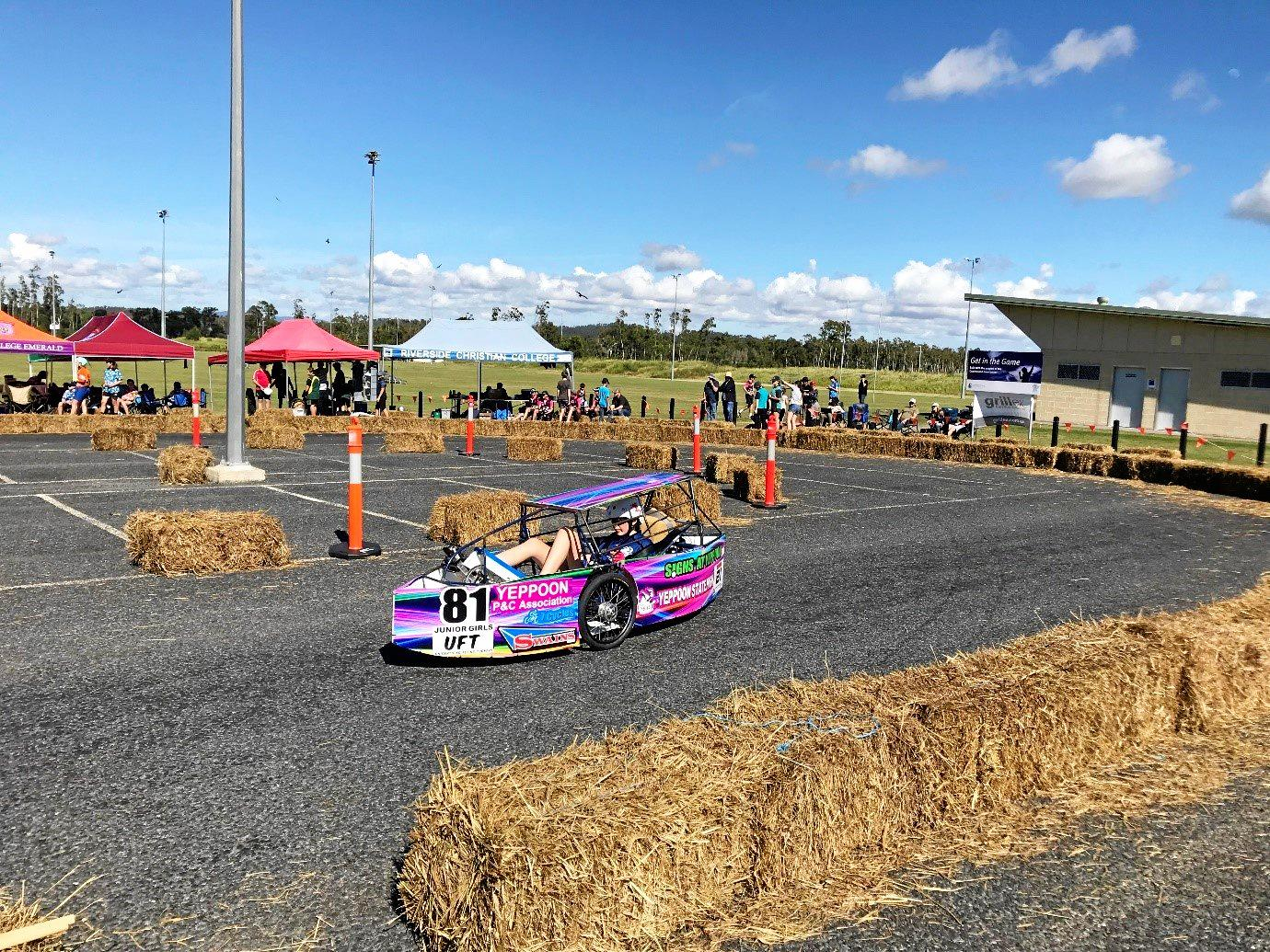 FOOT POWER: Yeppoon State High student Hannah Williams of the Junior Girls Team behind the wheel.