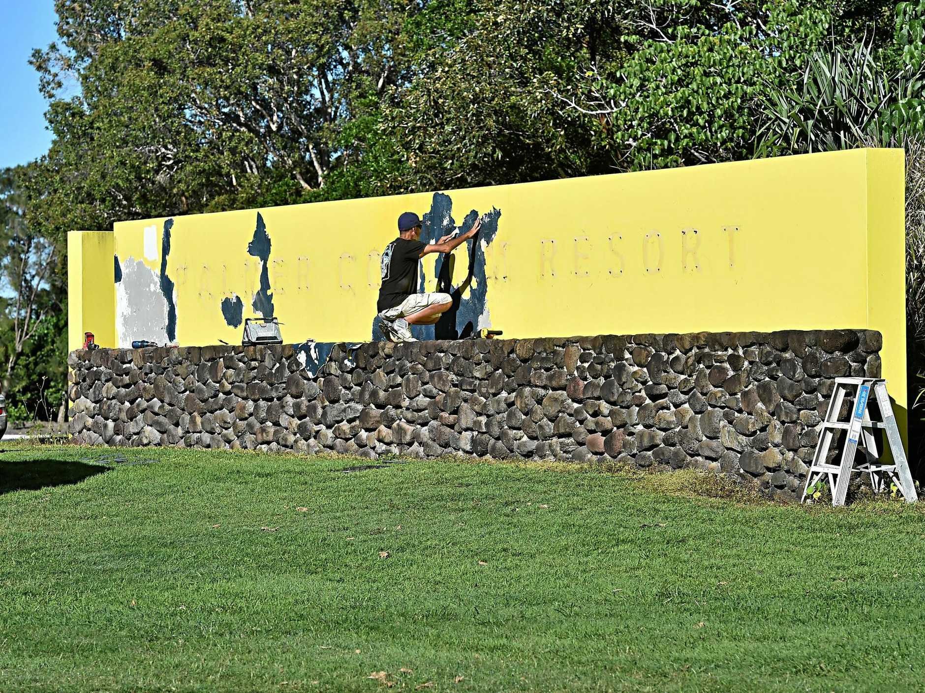 The Palmer Coolum Resort sign is removed.