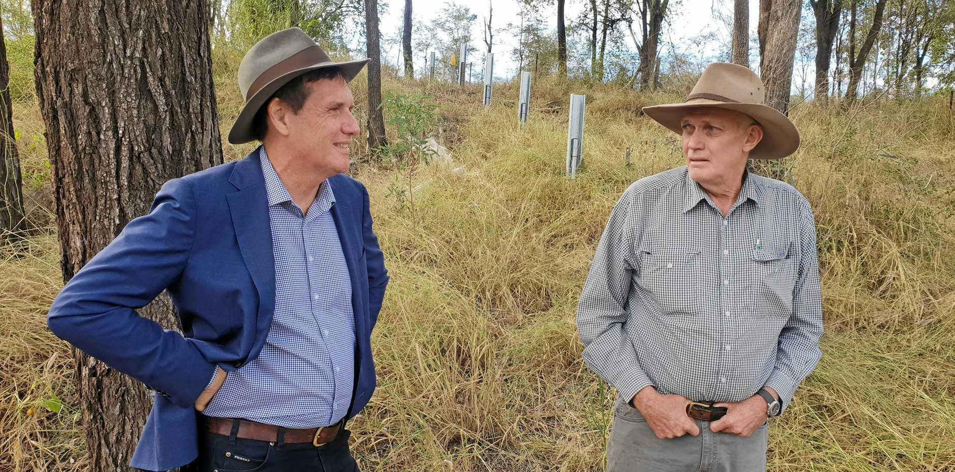 RIVER TALK: Minister for Natural Resources, Mines and Energy Anthony Lynham talks with CQ grazier Collin Dunn