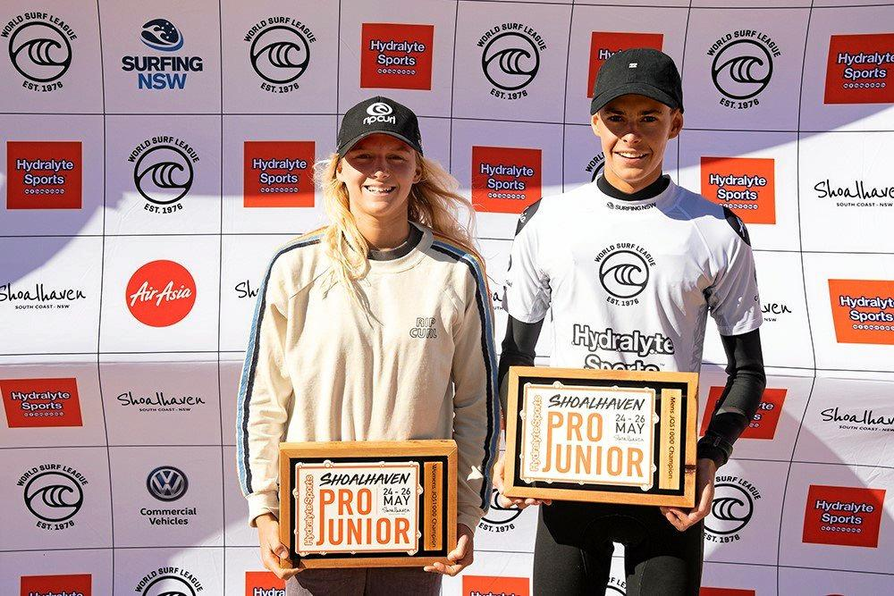 WINNERS:Molly Picklum and Dakoda Walters after taking out the Hydralyte Sports Shoalhaven Pro Junior.