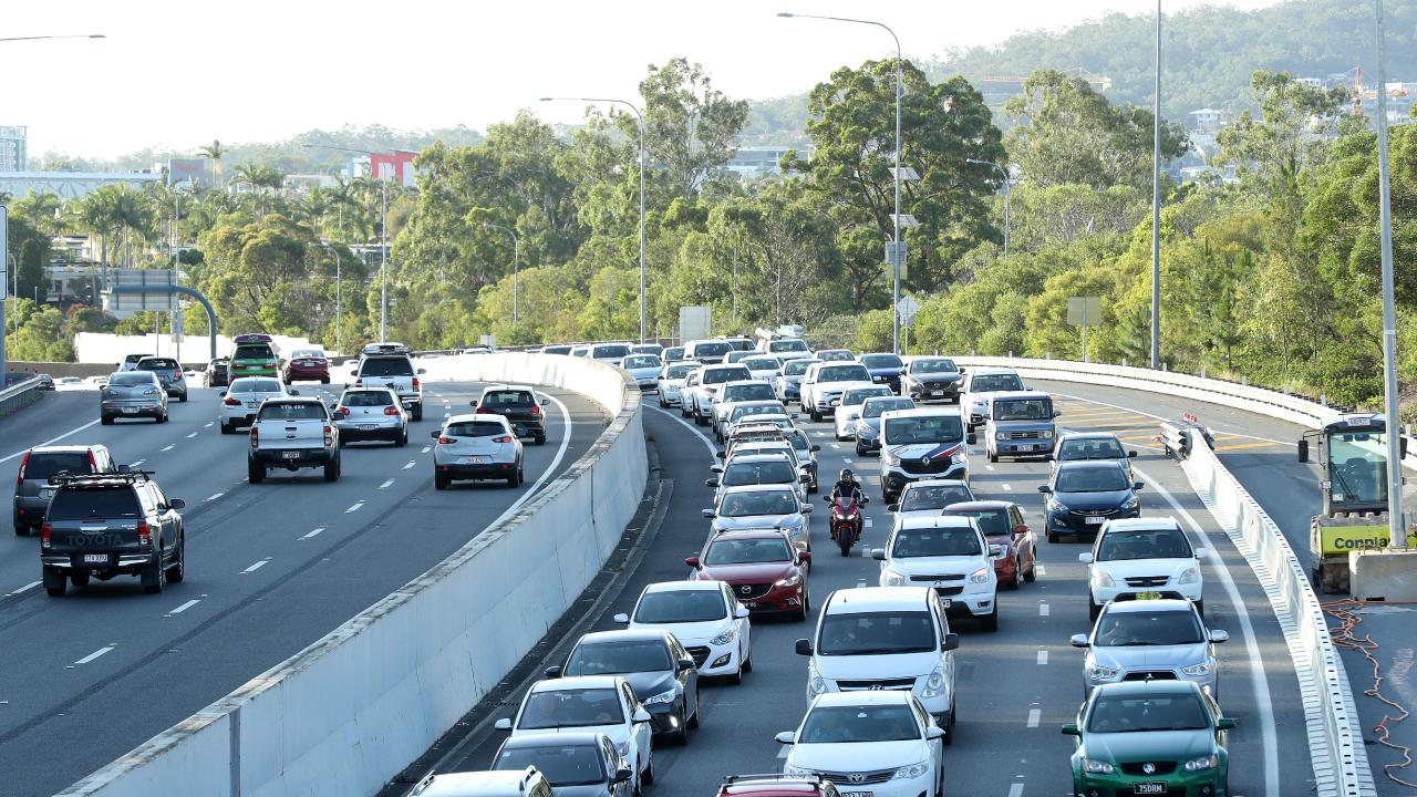 Congestion is heavy on the M1 near Worongary after a car and truck crash. Picture: Liam Kidston.