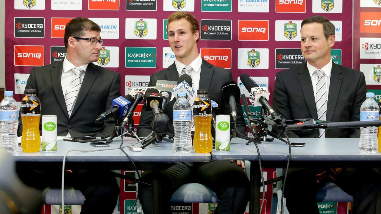 The moment in 2015 Daly Cherry-Evans (centre) announced he was reneging on a deal with the Gold Coast Titans. Picture: Gregg Porteous