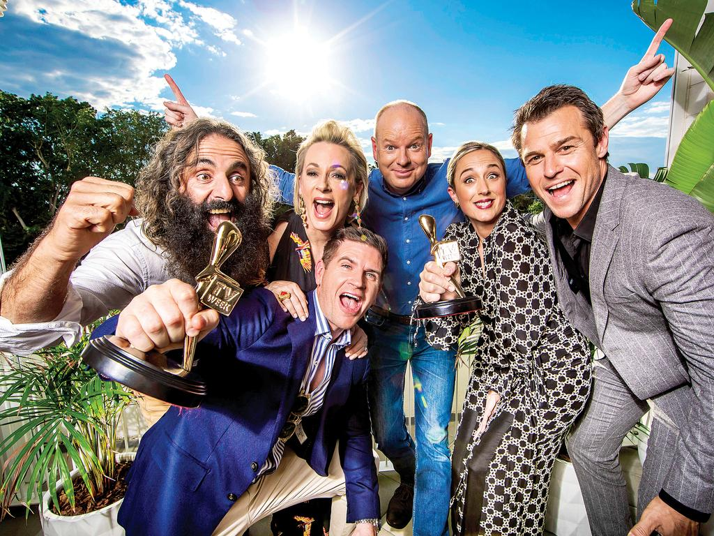 2019 Gold Logie nominees Costa Georgiadis, Amanda Keller, Sam Mac, Tom Gleeson, Eve Morey and Rodger Corser. Missing is Waleed Aly. Picture: Nigel Hallett