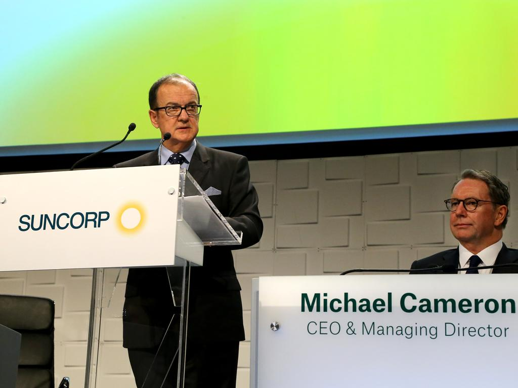 Outgoing chairman Ziggy Switkowski speaking at the SUNCORP AGM in Brisbane on September 20, 2018, CEO Michael Cameron (right). Picture: AAPimage/David Clark