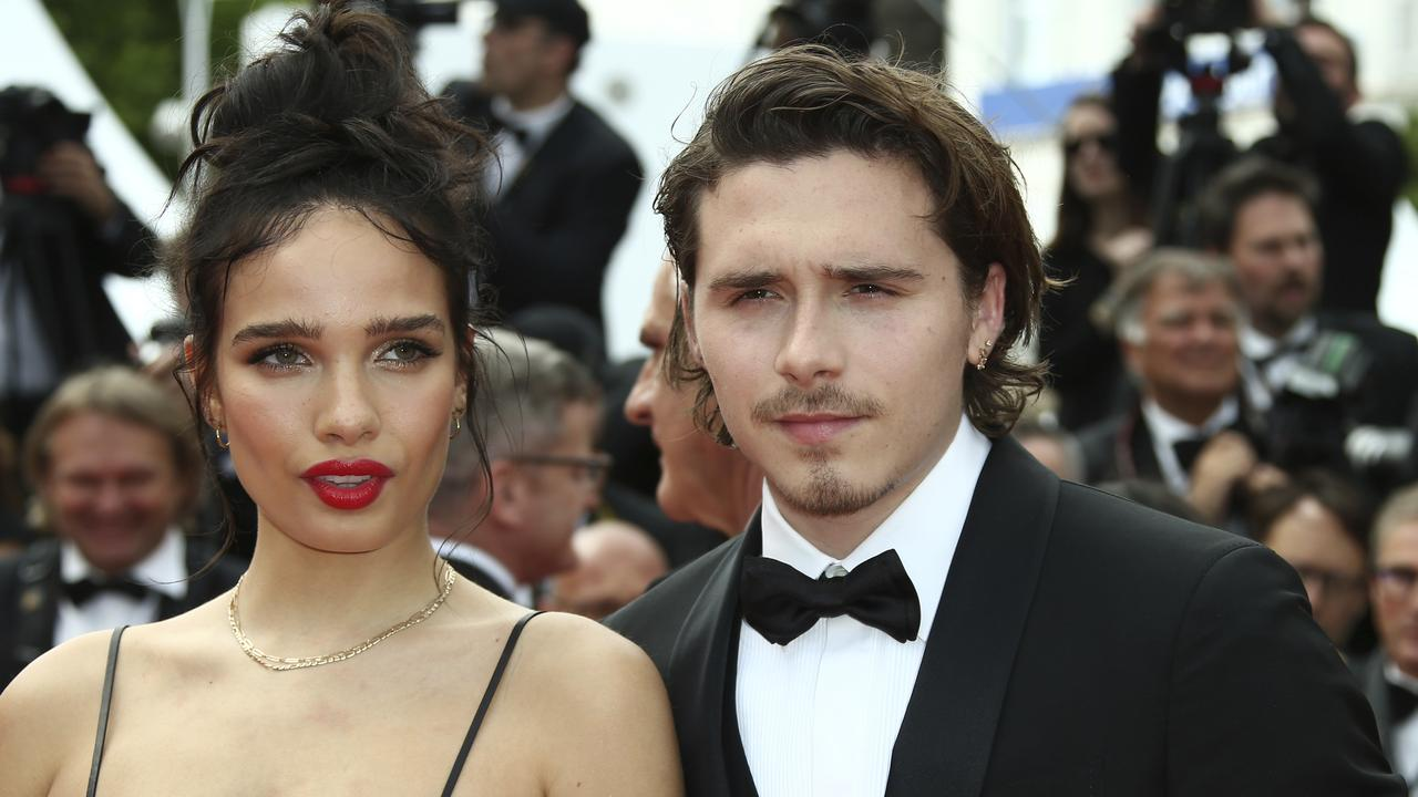 Brooklyn Beckham and Hana Cross in Cannes. The young couple was said to have an explosive fight which prompted security guards to separate them. Picture: AP