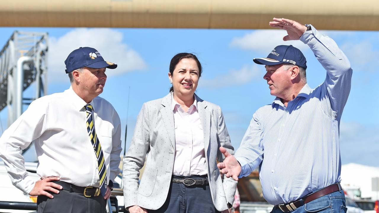 Premier Annastacia Palaszczuk arrives at the Port of Townsville with state MP's Aaron Harper and Scott Stewart. Picture: Zak Simmonds