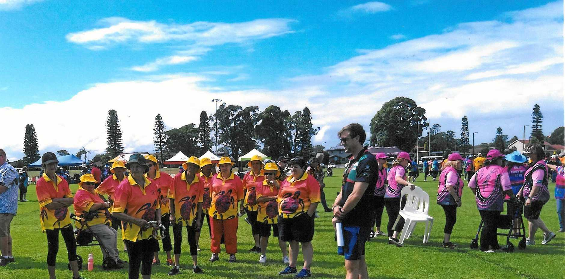 FRIENDLY COMPETITION: The Grafton team competes at the Elders Olympics held in Port Macquarie in April.