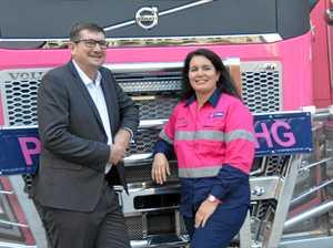 Girls love their new pink Volvo