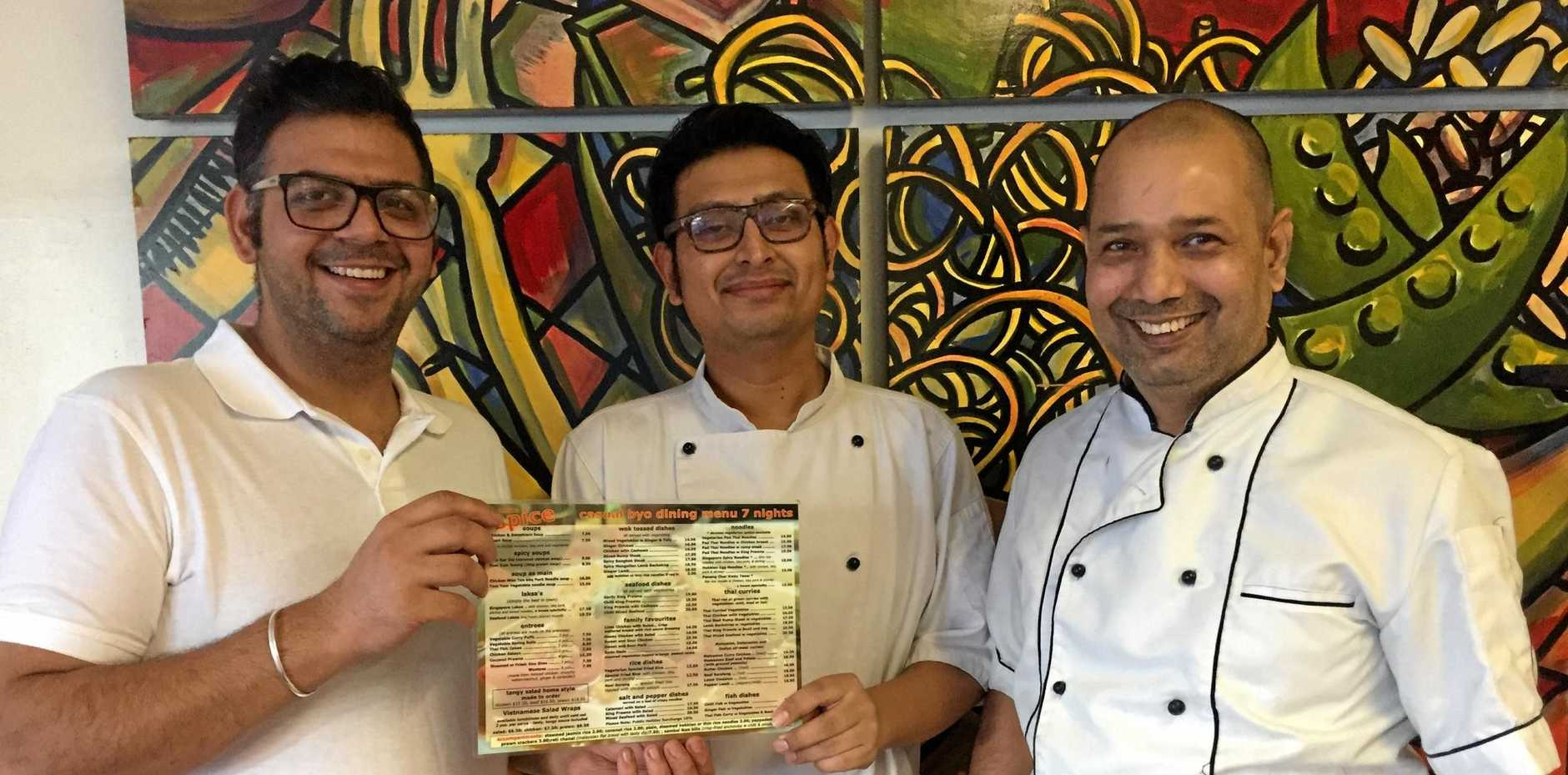 TOP TEAM: A Taste of Spice manager Nitish Dhingra, chef Bibek Manandhar and chef Anil Dutt.