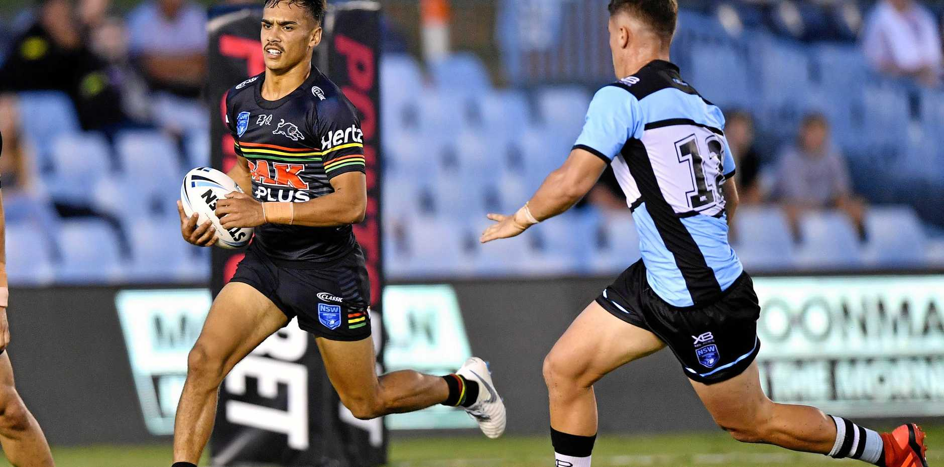 FLYING HIGH: Daine Laurie in action for the Penrith Panthers Jersey Flegg side against the Cronulla-Sutherland Sharks U20 at PointsBet Stadium last year.