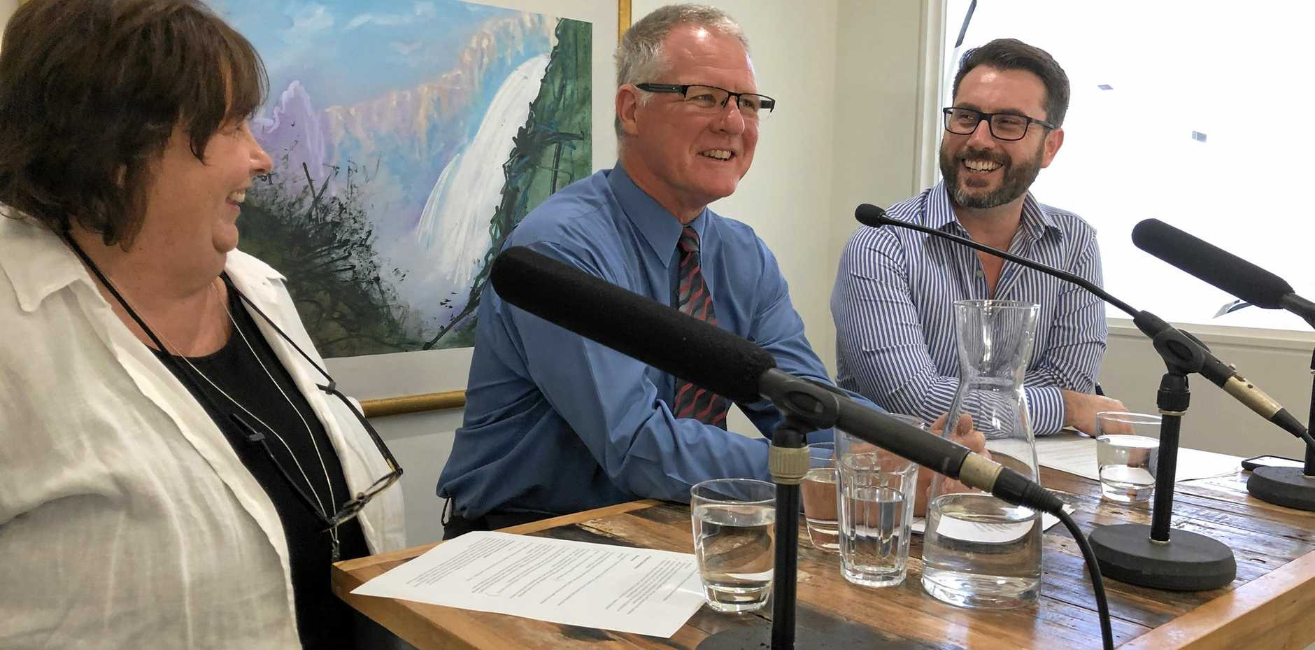 Heather McKinnon and Benjamin Bryant with guest Dr Ian Nisbet (centre), forensic psychologist with the Australian Psychology & Wellness Centre.