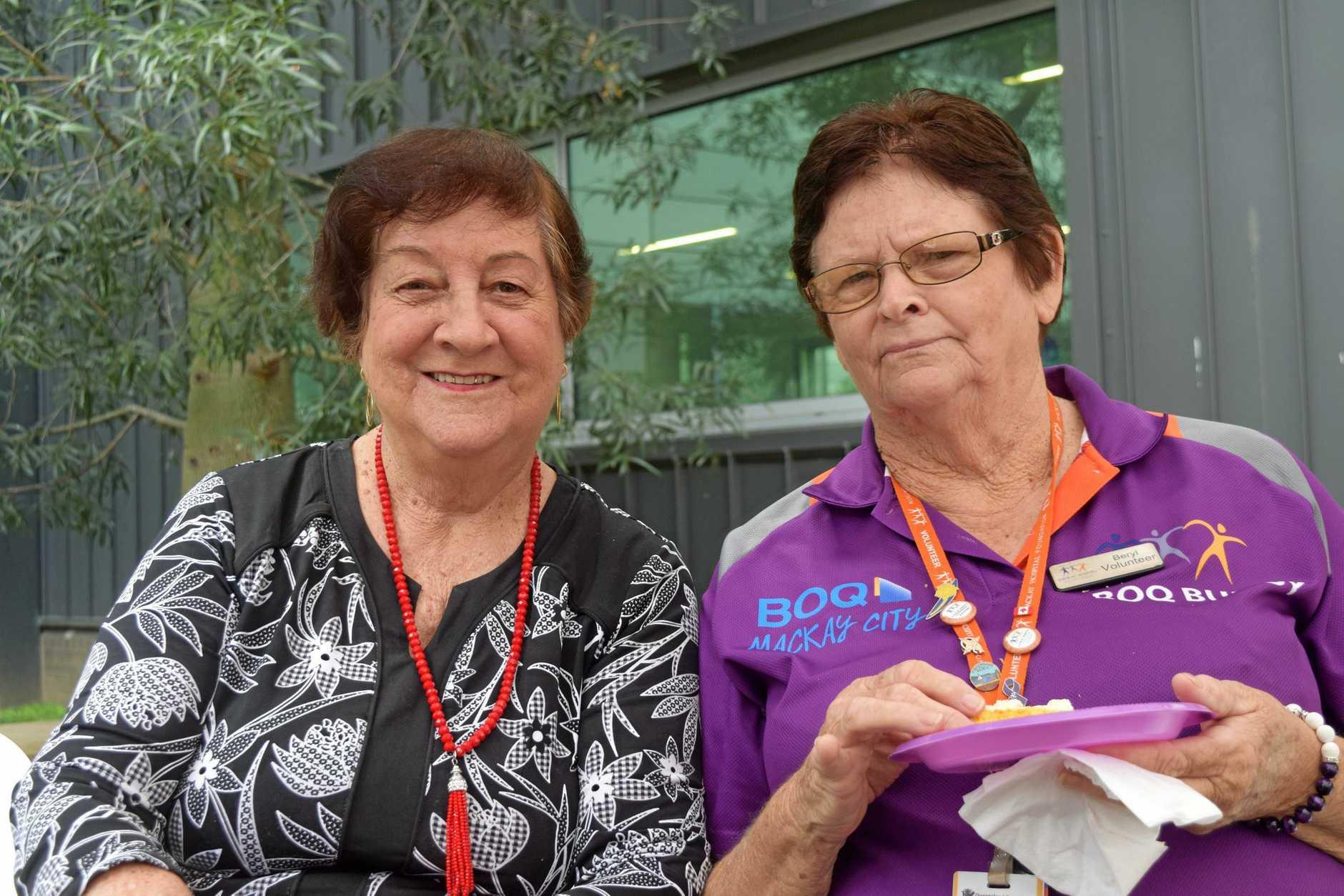 Mackay Hospital Foundation volunteers Dawn Symons and Beryl Metcalfe.