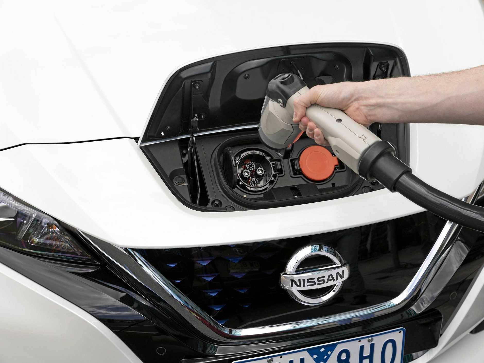 The Nissan Leaf electric car.