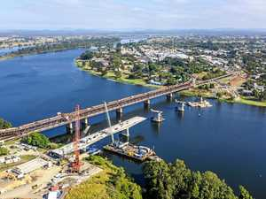BRIDGE UPDATE: Aerial view of bridge at halfway mark