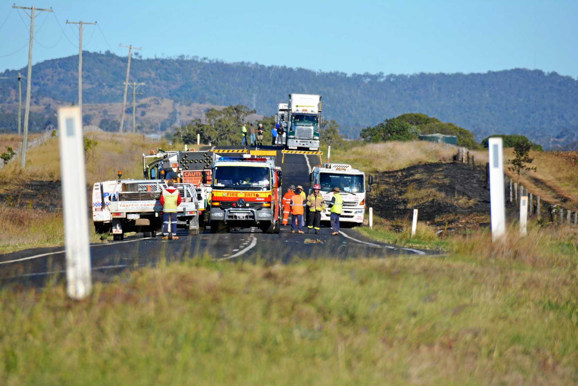 TRAGEDY The scene of the fatal crash on the Bunya Highway on Monday night.