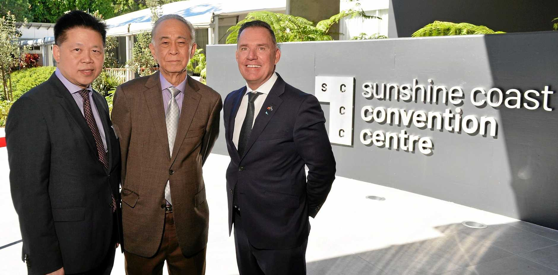 GROWTH: Shakespeare Property Group managing director Yak Yong Quek, chairman Cheng King Law and Accor Pacific chief operating officer Simon McGrath at the Sunshine Coast Convention Centre.