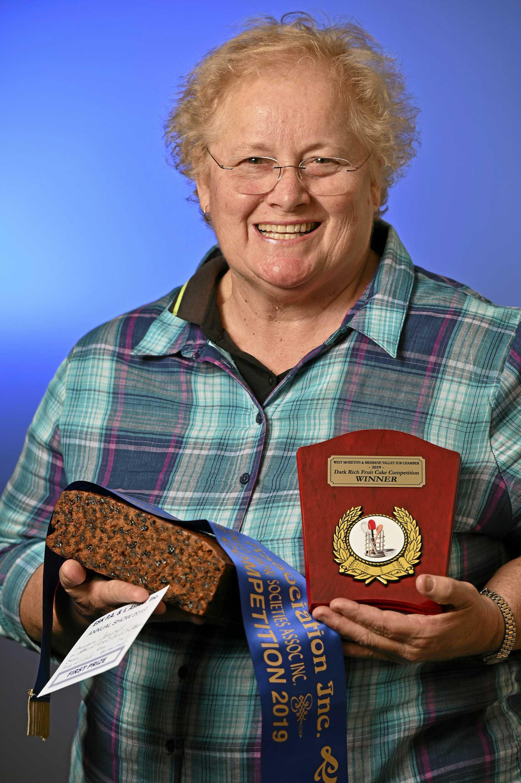 West Moreton and Brisbane Valley Dark Rich Fruit Cake Competition champion Maree Harvey.
