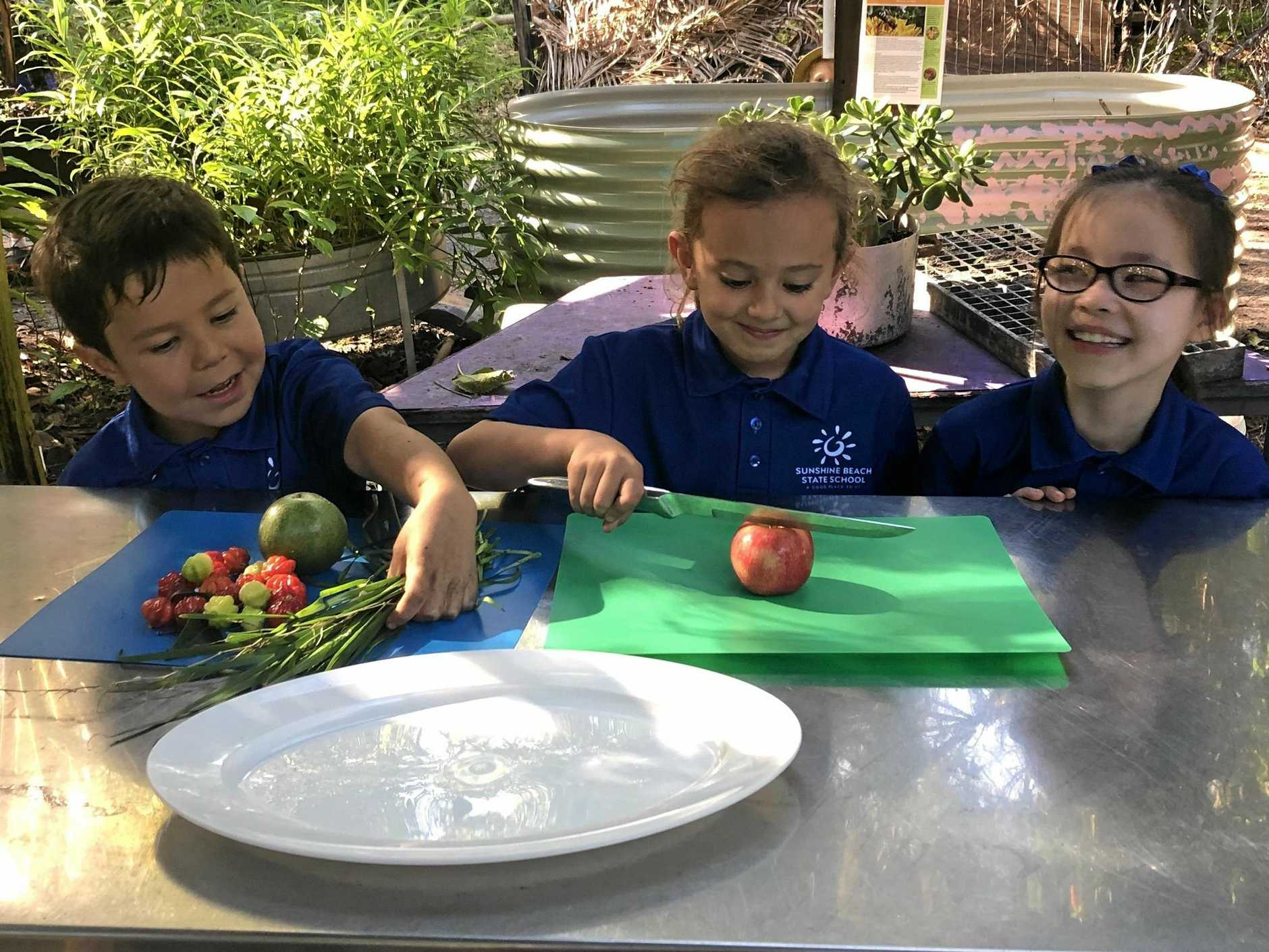FRESH IS BEST: Sunshine Beach State School Year 2 students Tyson, Isla and Ella-Lee prepare some snacks to share, straight from their permaculture garden.
