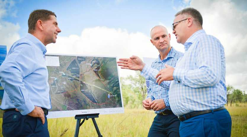 GREEN LIGHT: Minister for State Development Cameron Dick, Gladstone MP Glenn Butcher and Acciona managing director Brett Wickham at the Aldoga site in April last year.