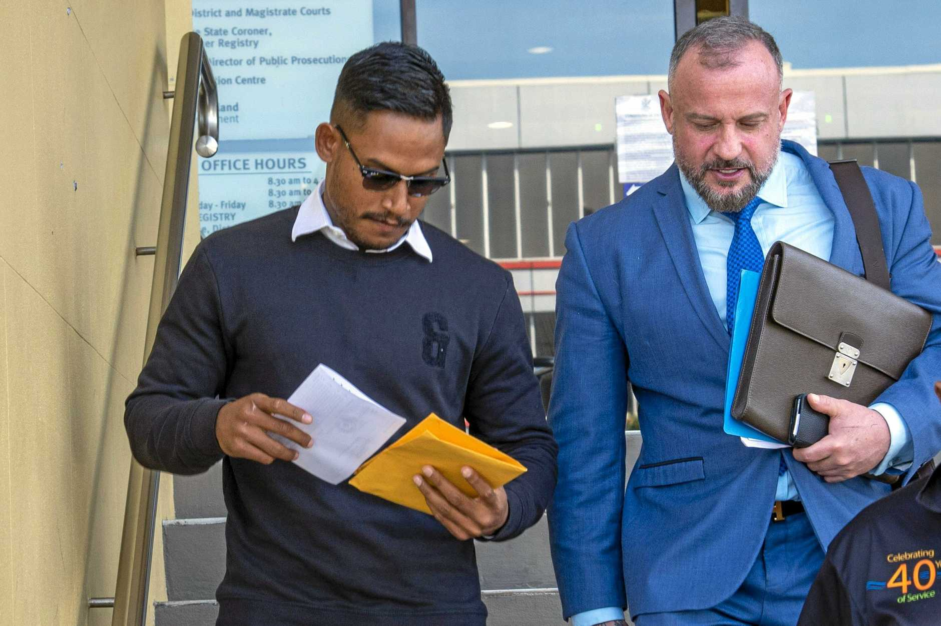 Mackay, 28 May 19, Mackay Court House.Ben Barba and his Lawyer Campbell MacCallum.Photo : Daryl Wright.