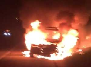 Stolen car burnt out on motorway