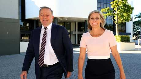 New Labor leader Anthony Albanese pictured in Caboolture with former Labor Member for Longman Susan Lamb. Picture AAP Image/ David Clark