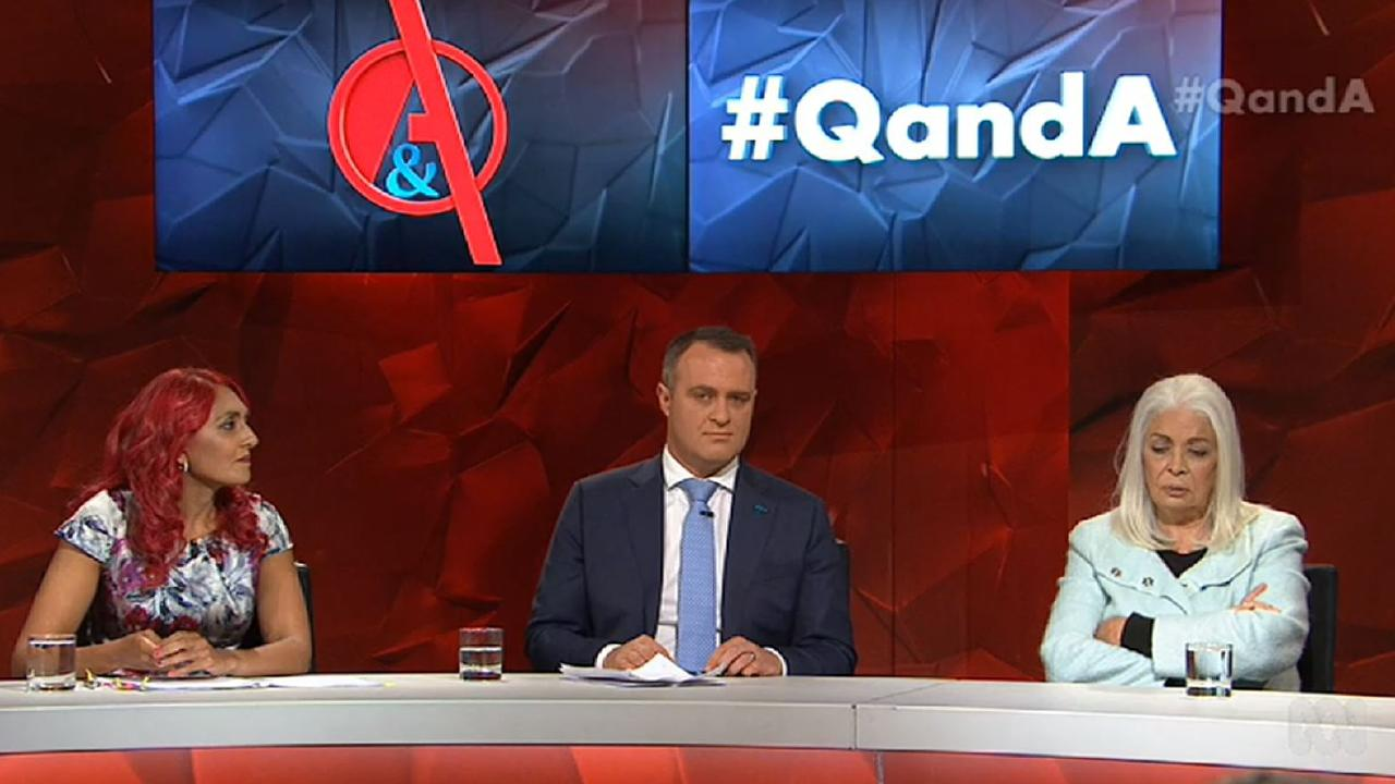 (From left to right): Rachael Jacobs, Liberal MP Tim Wilson and Professor Marcia Langton on ABC's Q&A panel for Monday, 27 May.