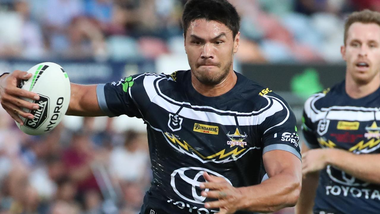 Jordan McLean of the Cowboys during the Round 10 NRL match between the North Queensland Cowboys and the Parramatta Eels at 1300SMILES Stadium in Townsville, Saturday, May 18, 2019. (AAP Image/Michael Chambers)