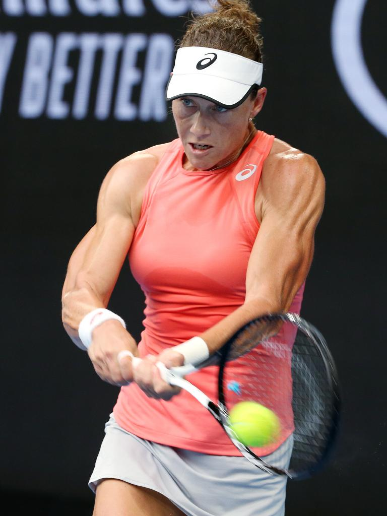 Sam Stosur's arms are nothing to scoff at. Pic: Michael Klein