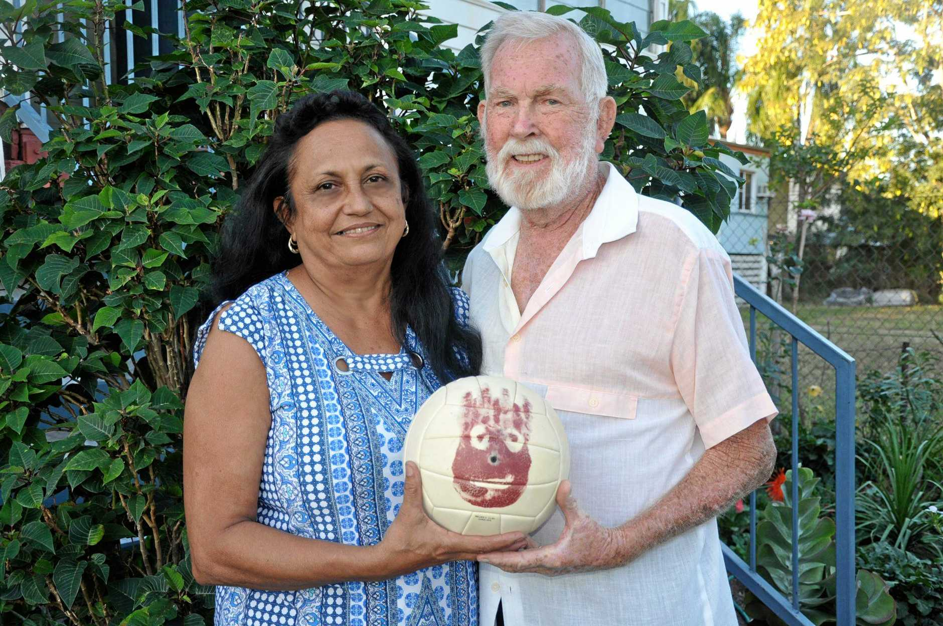 FILM STAR: Susie and Ray Matthews with Tom Hanks silent co-star in Cast Away, Wilson.
