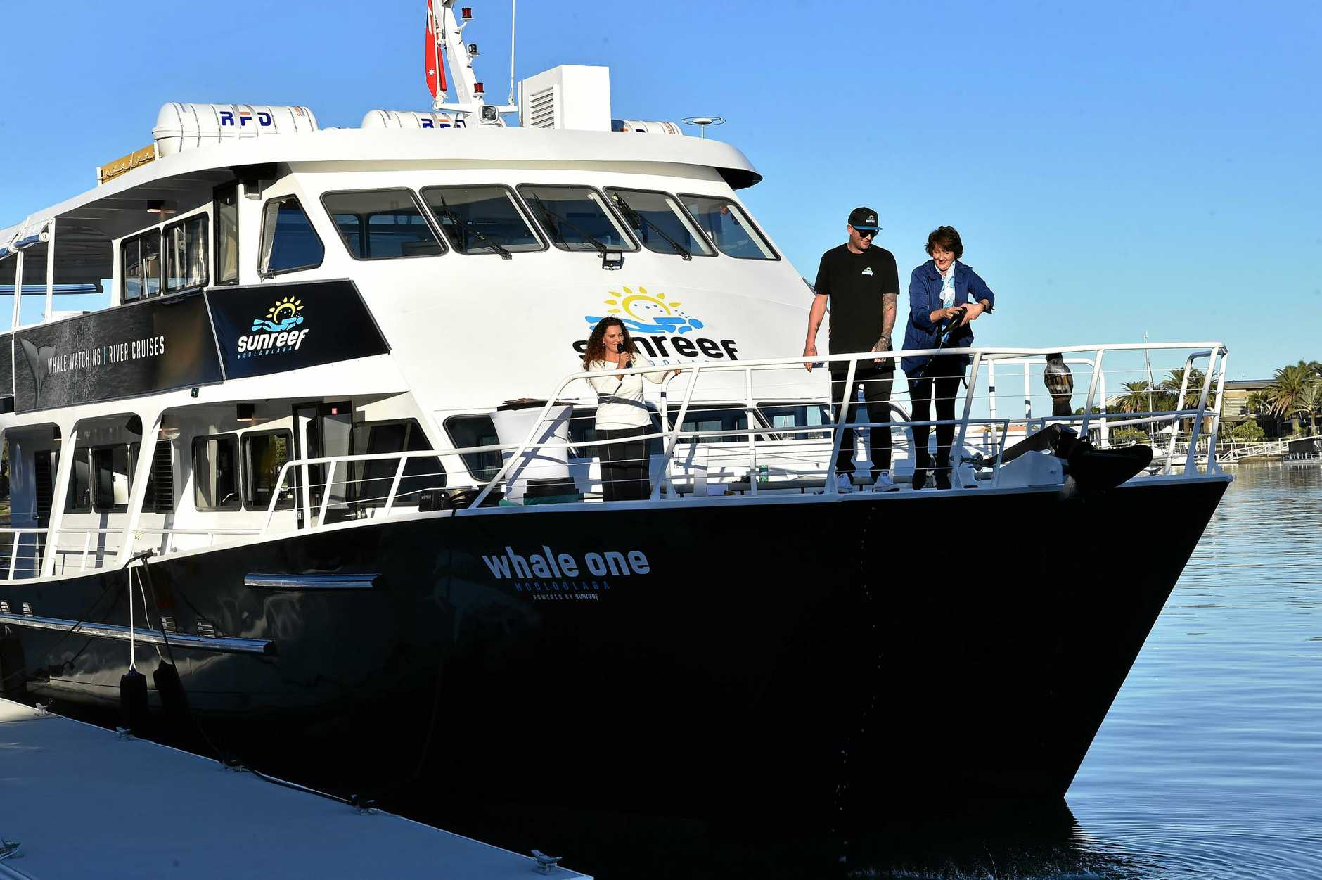 Launch of the Sunshine Coast Whale watching season and christening of the new look Whale One.Fiona Simpson MP and owner Dan Hart christen the Whale One.