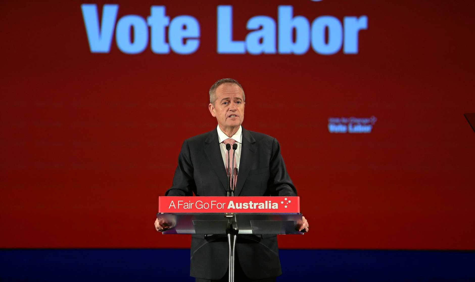TO BE FRANK: Then-Opposition Leader Bill Shorten addressing the final week campaign rally before the election. David French says the centrepiece of Labor's tax plan was their downfall.