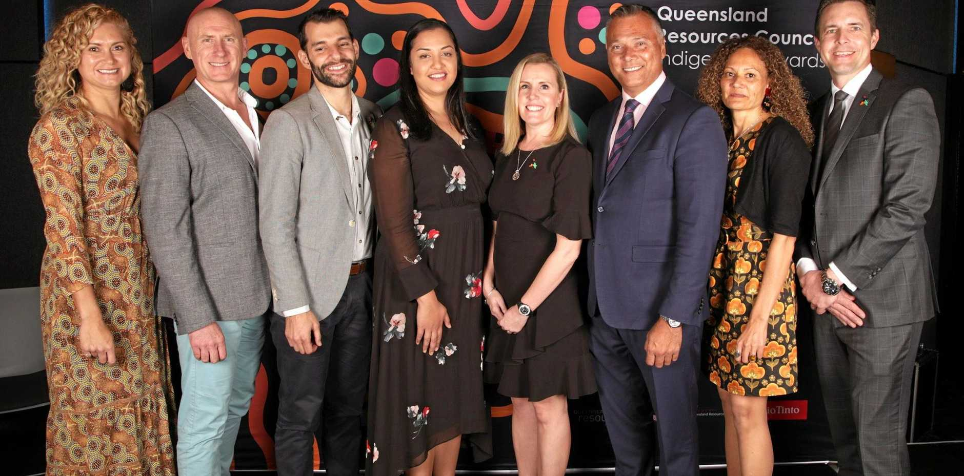 The QRC Indigenous Awards winners, from left, Dee Clarke, Anthony Galante, Josh Cox, Nyah Teiotu, Libby Ferrari, Stan Grant, Barbara Sheehy, and James Palmer.