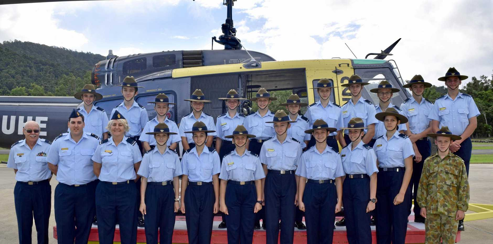 DROPPED IN: Helibiz Airlie Beach took the Australian Air force Cadets 110 Squadron on a flight in the Eagle One Helicopter.