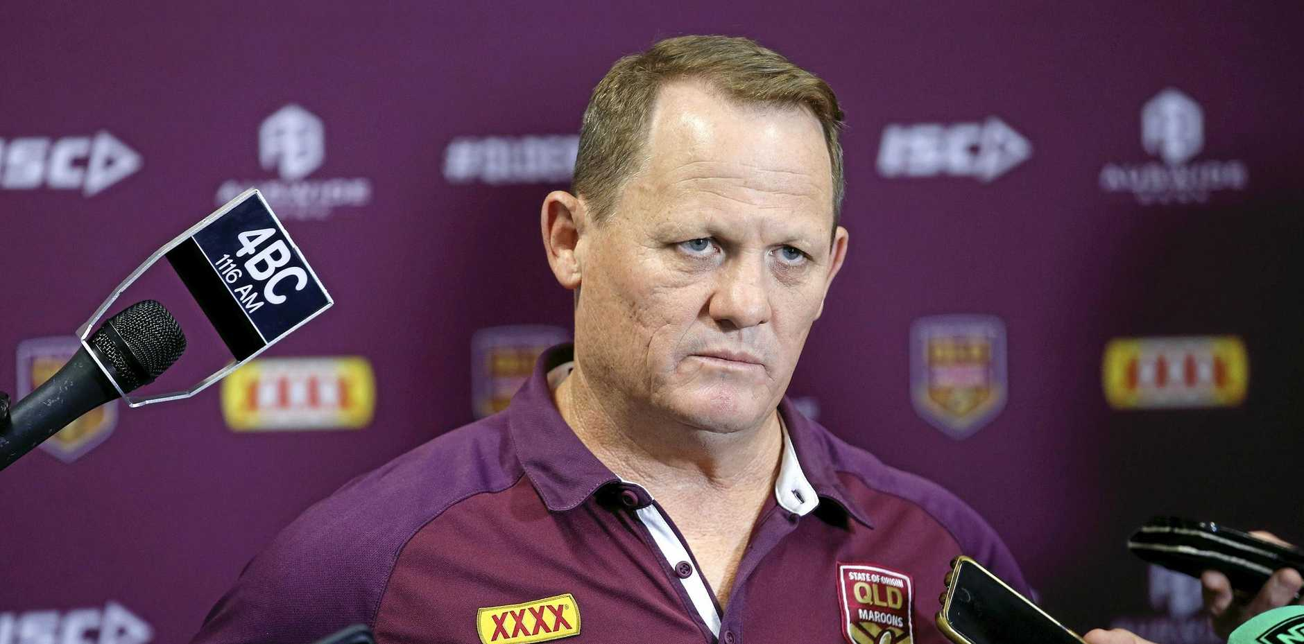 Maroons coach Kevin Walters pictured addressing the media ahead of the Queensland State of Origin team announcement at Queensland Rugby League, Brisbane 27th of May 2019.  (AAP Image/Josh Woning)