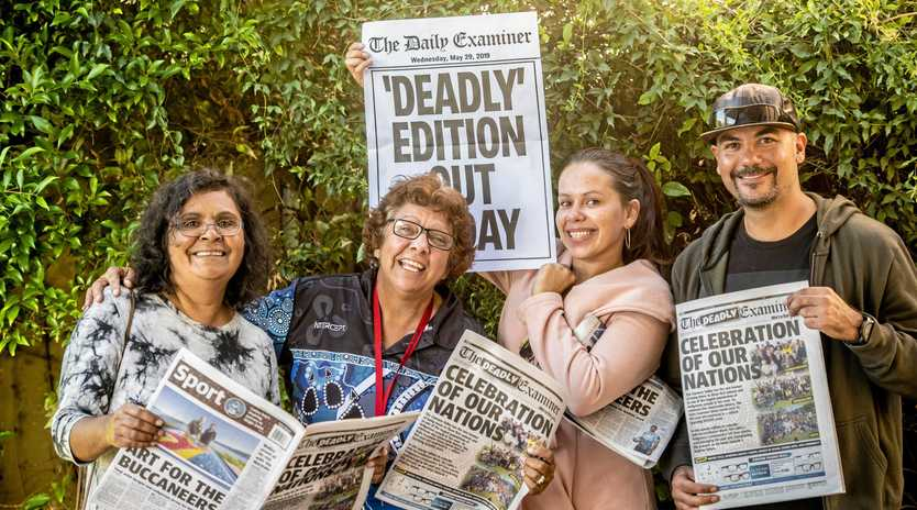 JOB WELL DONE: Janelle Brown, Jo Randall, Cary Gordon and Dean Loadsman with copies of The Deadly Examiner.
