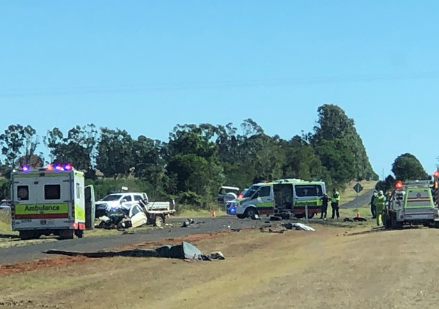 Emergency services are at the scene of a truck and ute crash near Kingaroy.